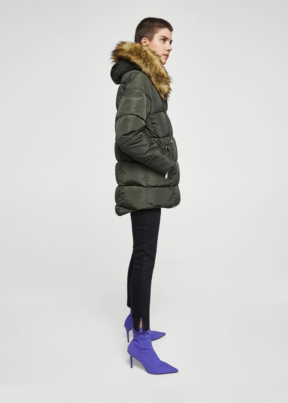 Fur collar quilted coat | MANGO