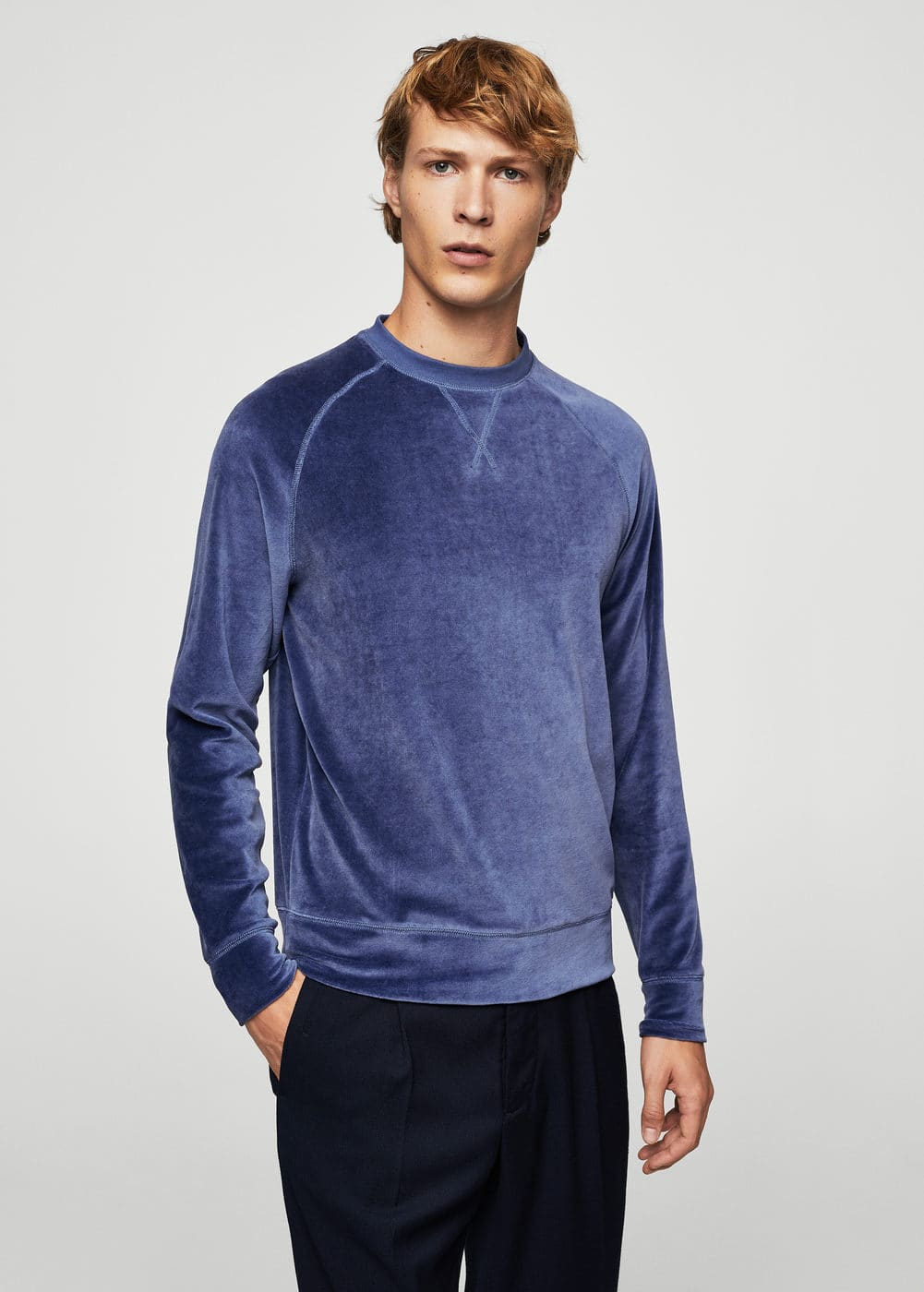 Velvet cotton sweatshirt | MANGO