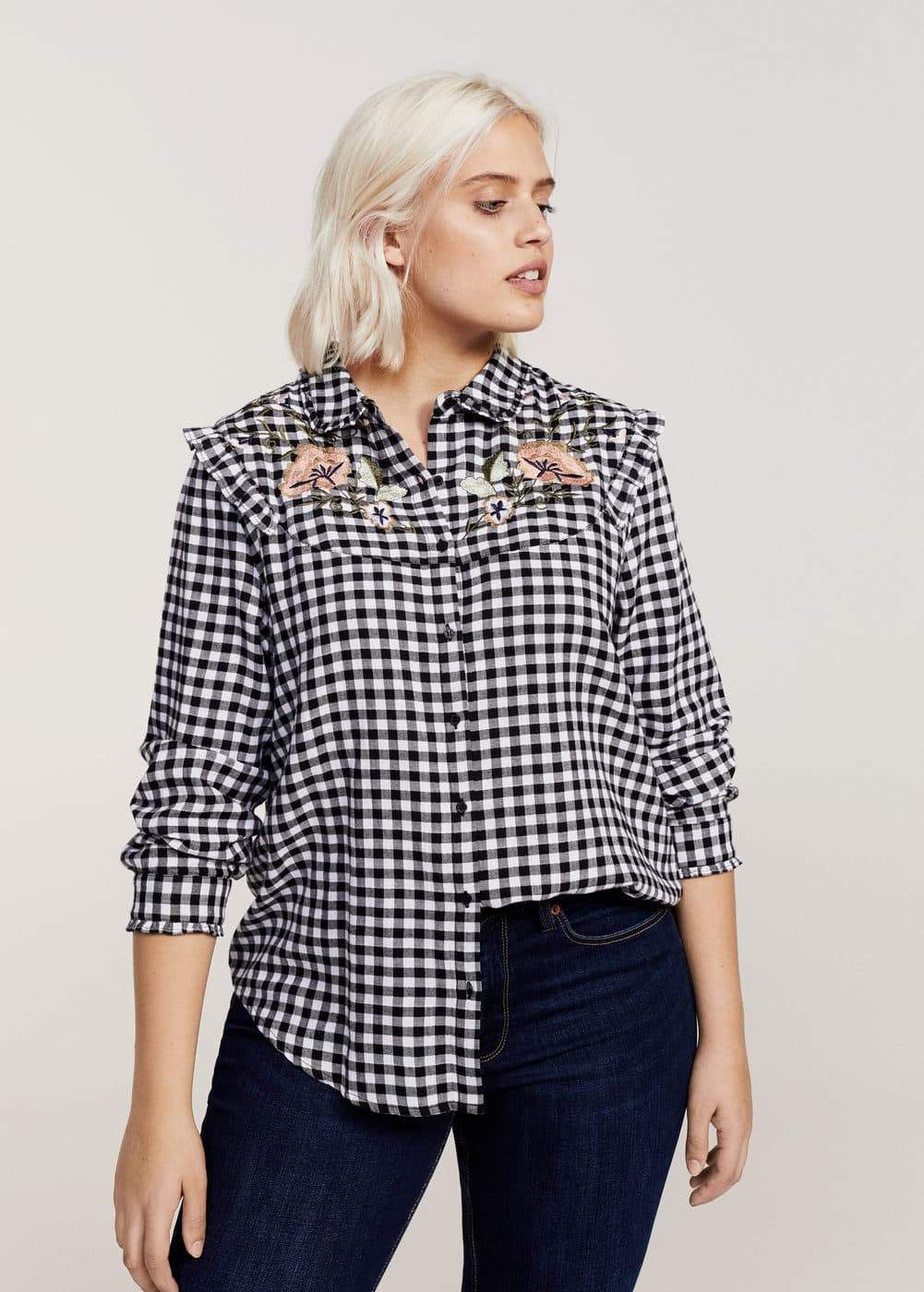 Floral ebroidery gingham blouse | VIOLETA BY MANGO