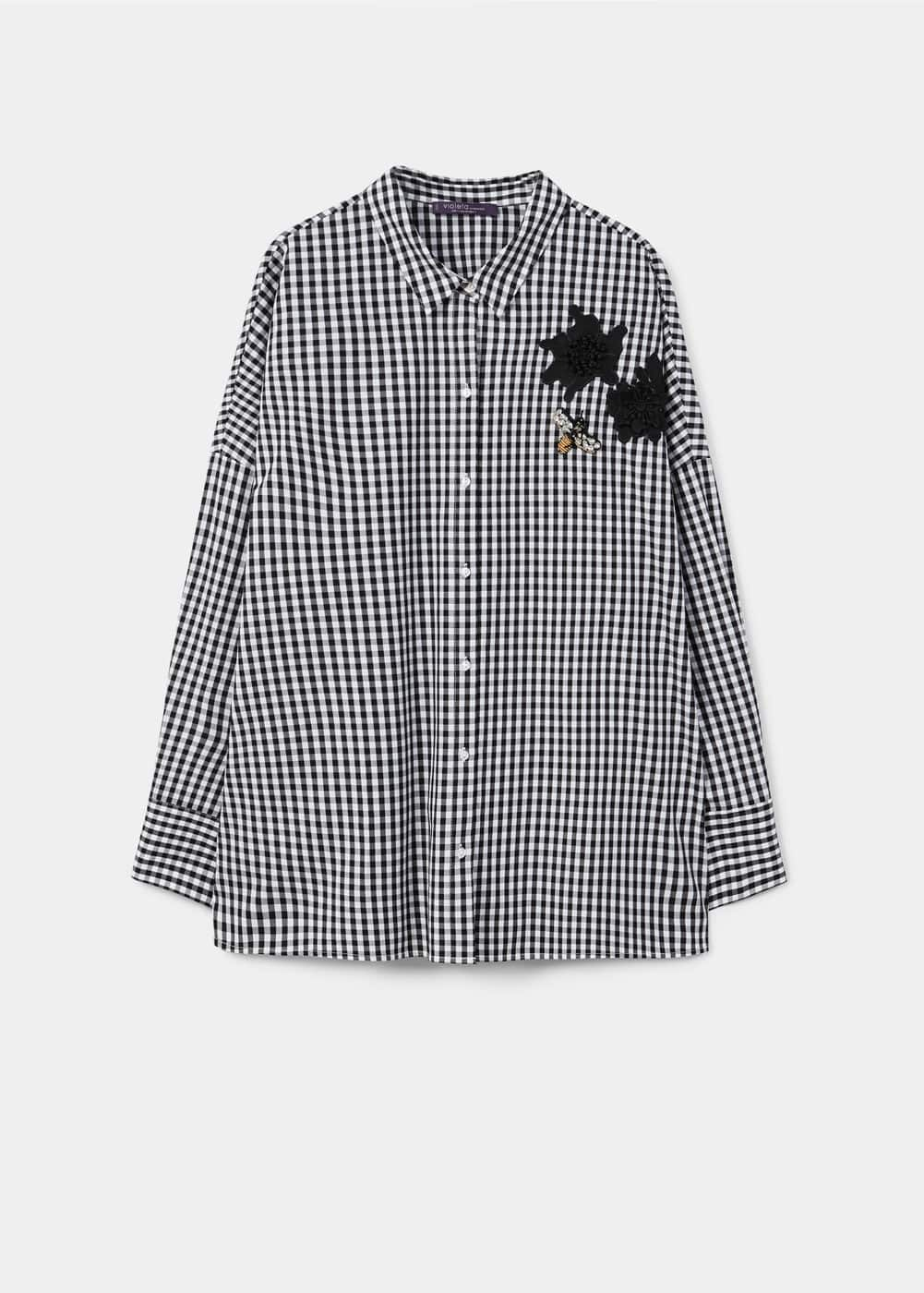 Patched gingham check shirt | MANGO