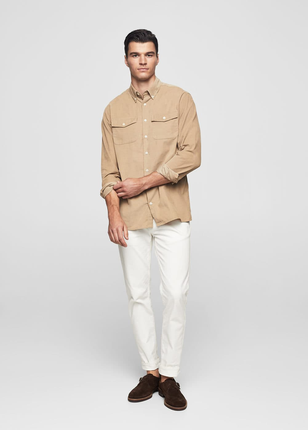 Slim-fit corduroy cotton shirt | MANGO MAN