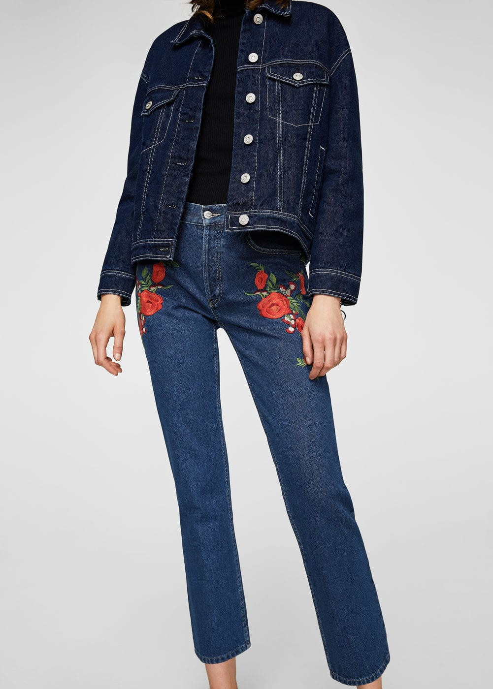 Embroidered slim jeans | MANGO