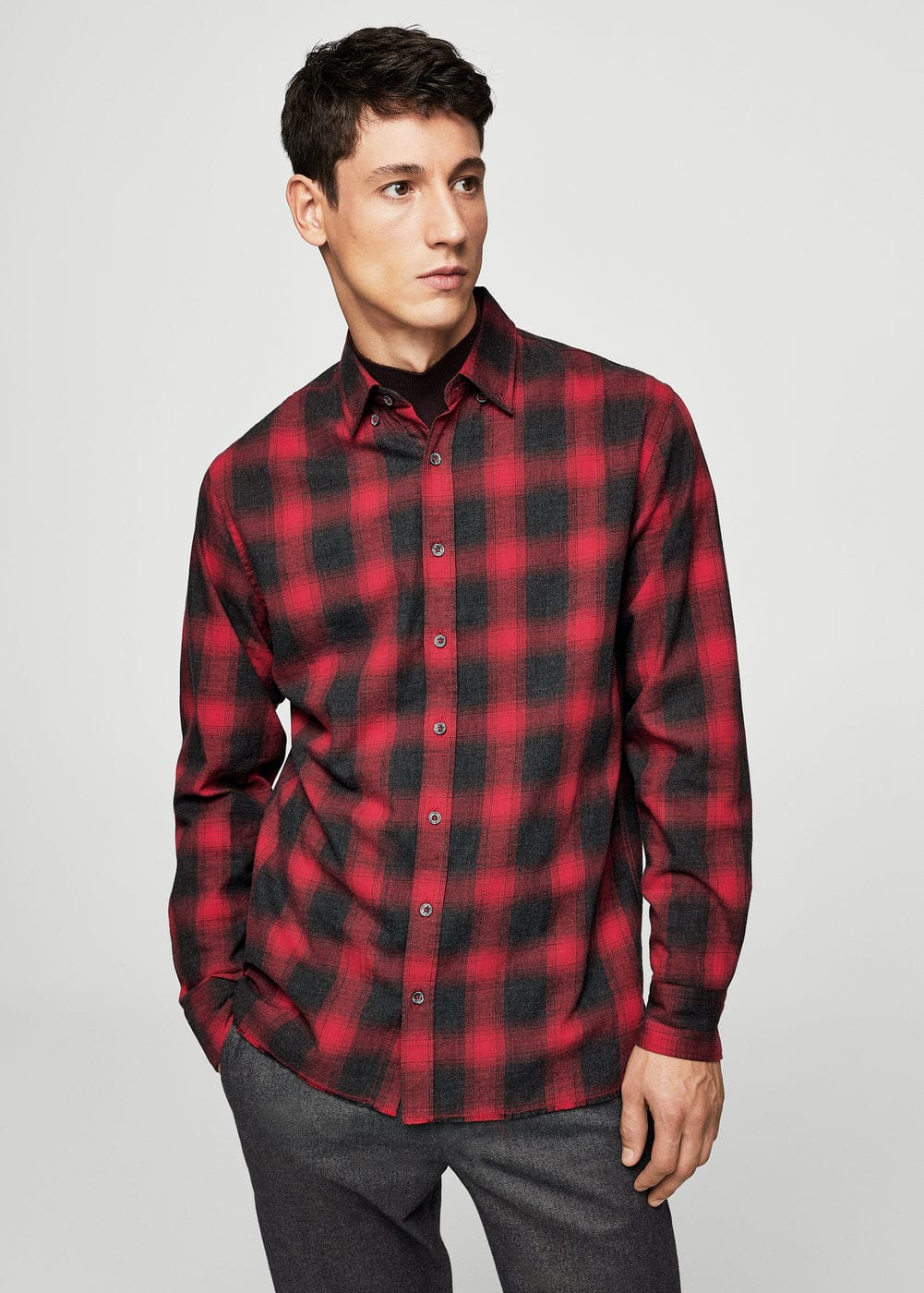 Regular-fit checked flannel shirt | MANGO