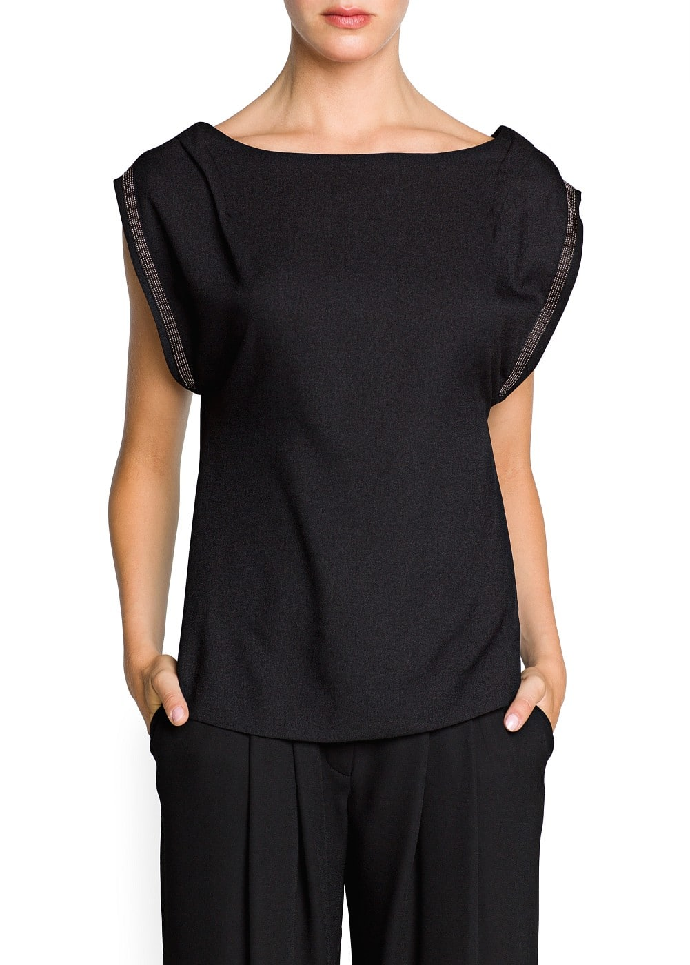 Beaded trim crepe top | MANGO