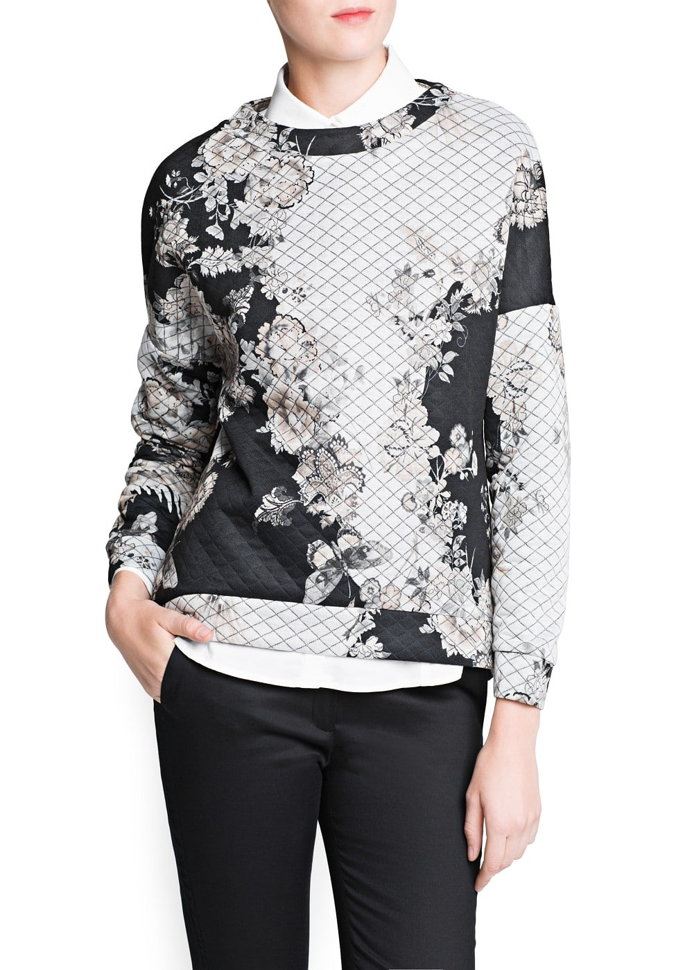 Quilted floral print sweatshirt | MANGO