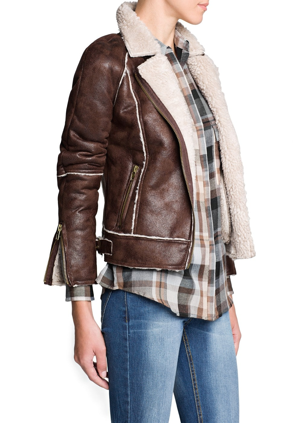 Shearling effect biker jacket | MANGO