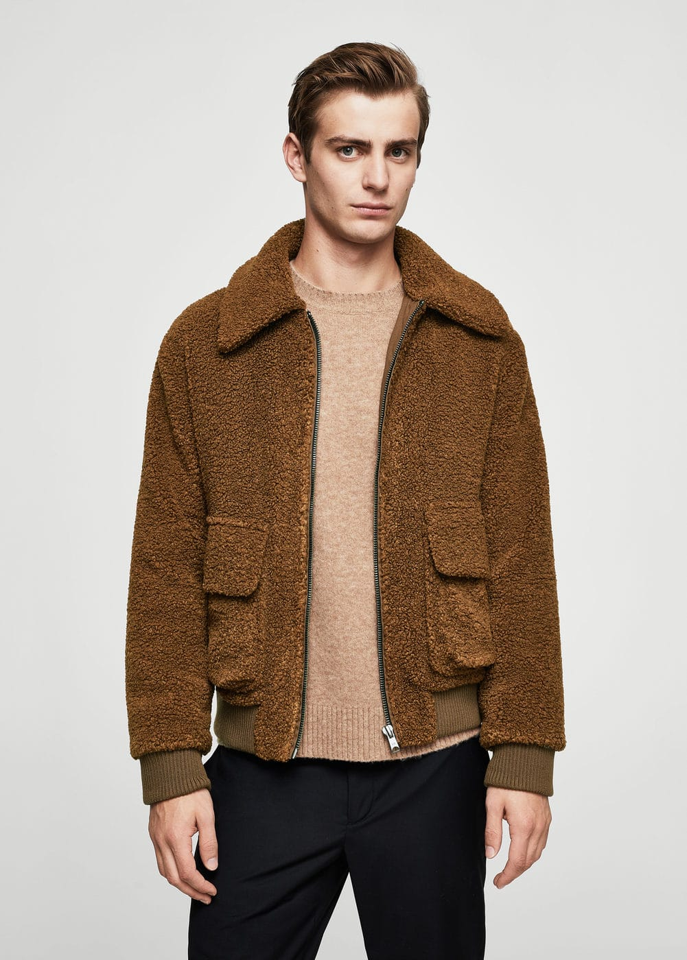 Faux shearling aviator coat | MANGO