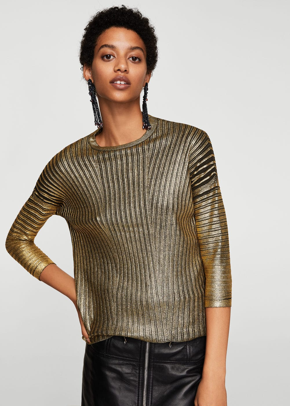 Metallic finish sweater | MANGO