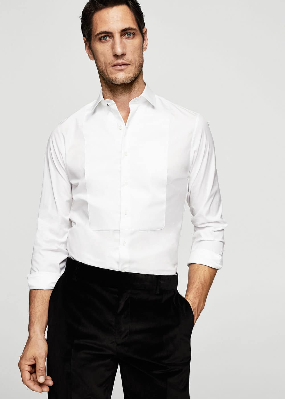 Slim-fit tailored stretch cotton shirt | MANGO MAN