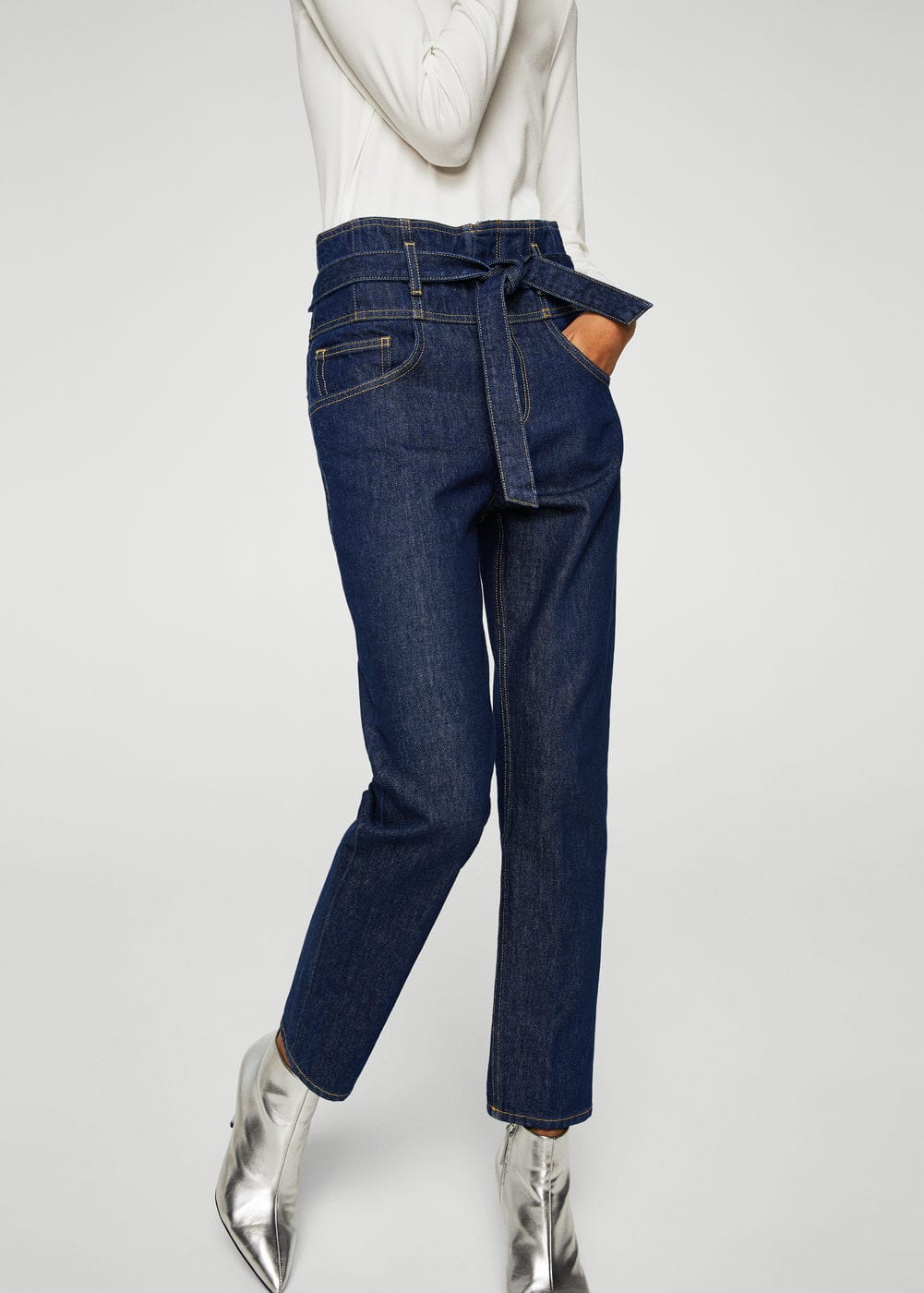 Belt organic cotton jeans | MANGO