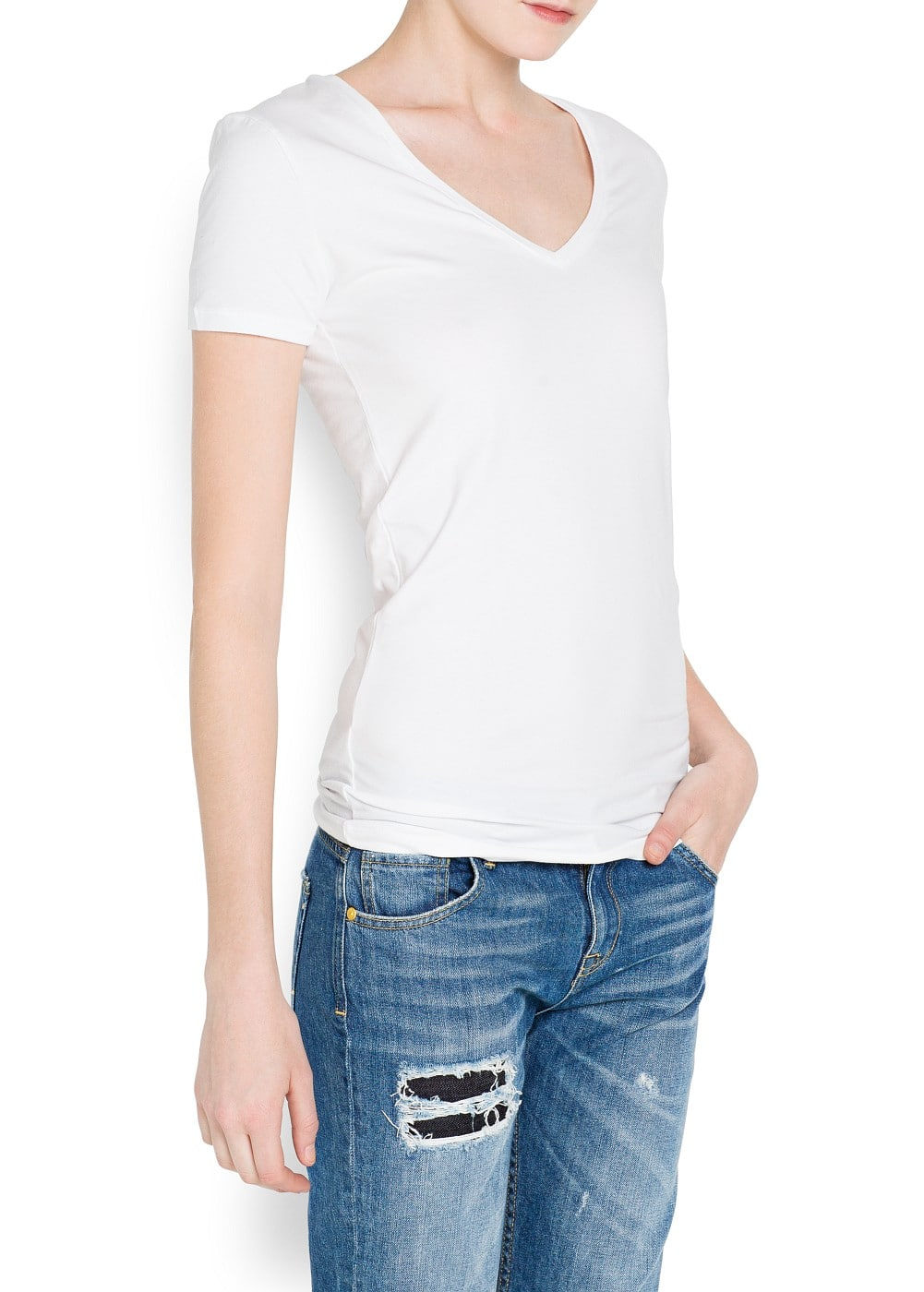 V-neckline cotton t-shirt | MANGO
