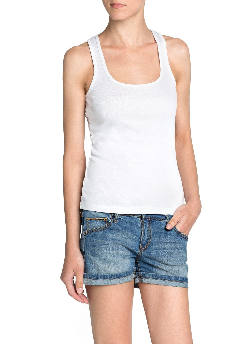 Straps cotton t-shirt | MANGO