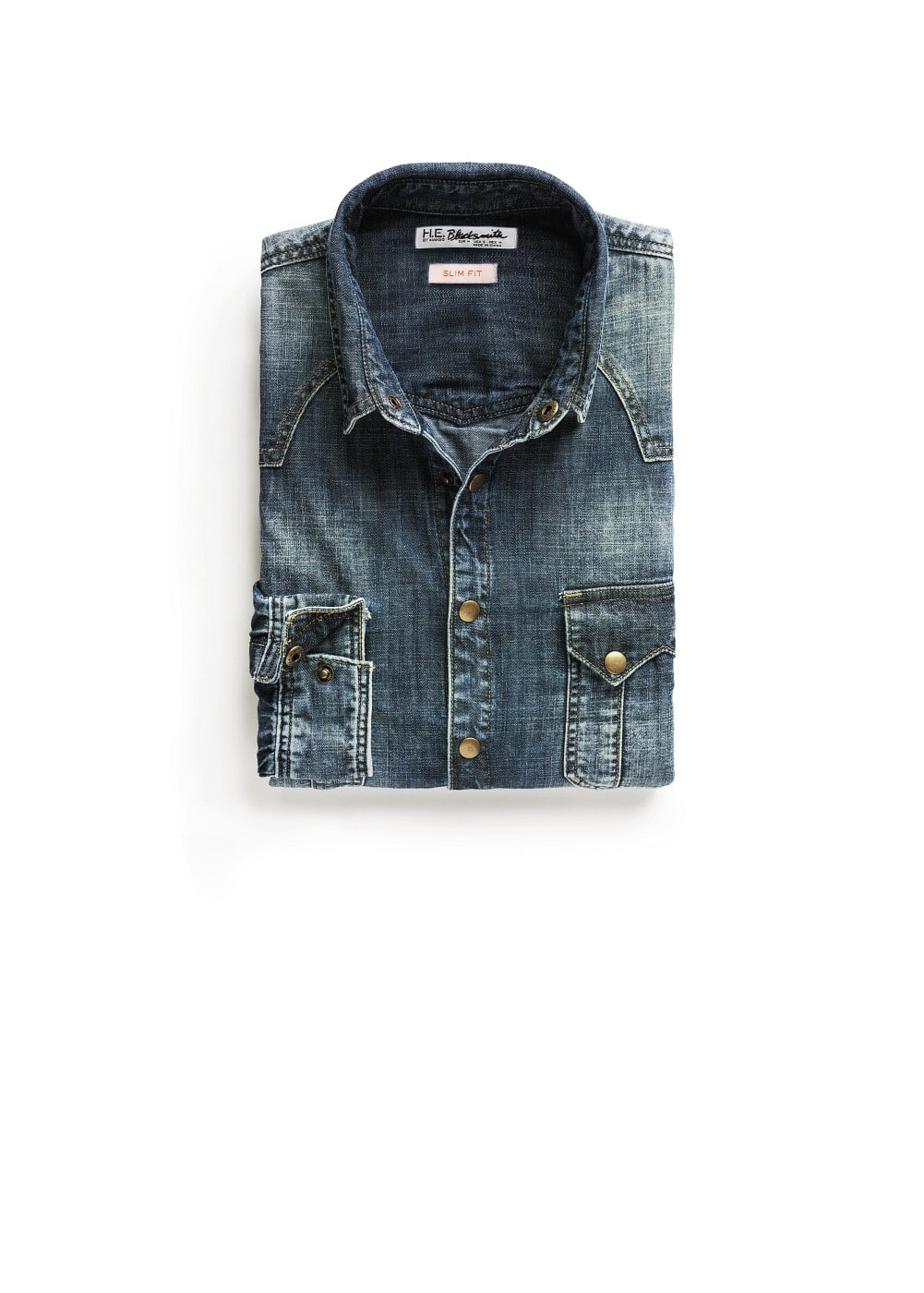Slim-fit vintage denim shirt | MANGO MAN