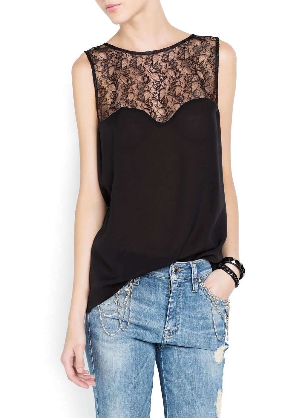 Blond lace top | MANGO