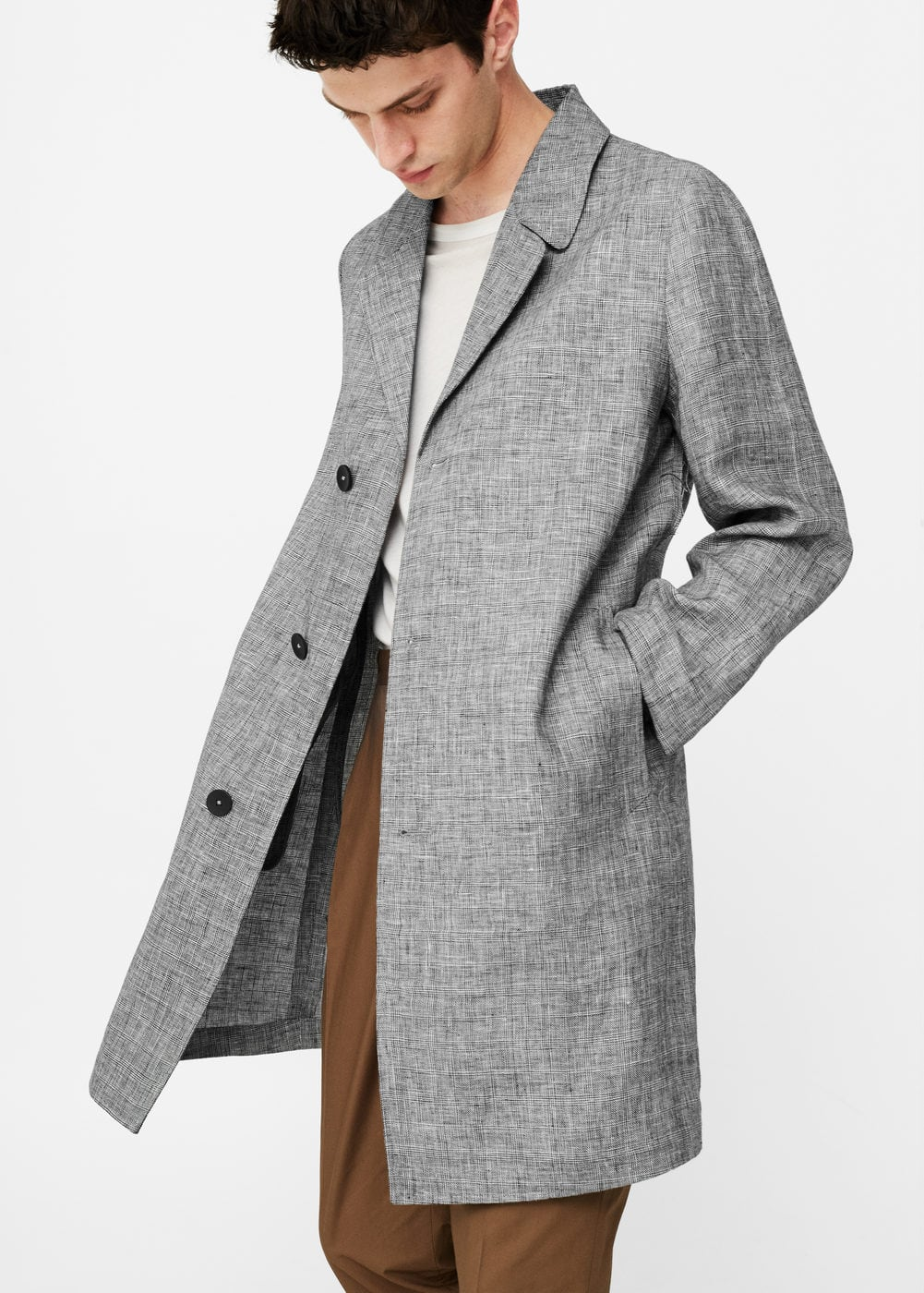 Prince of wales linen trench | MANGO MAN