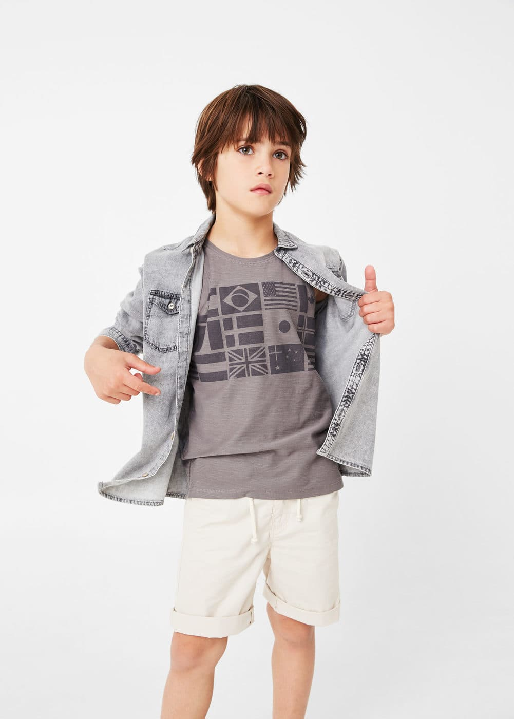 Printed flag t-shirt | MANGO KIDS