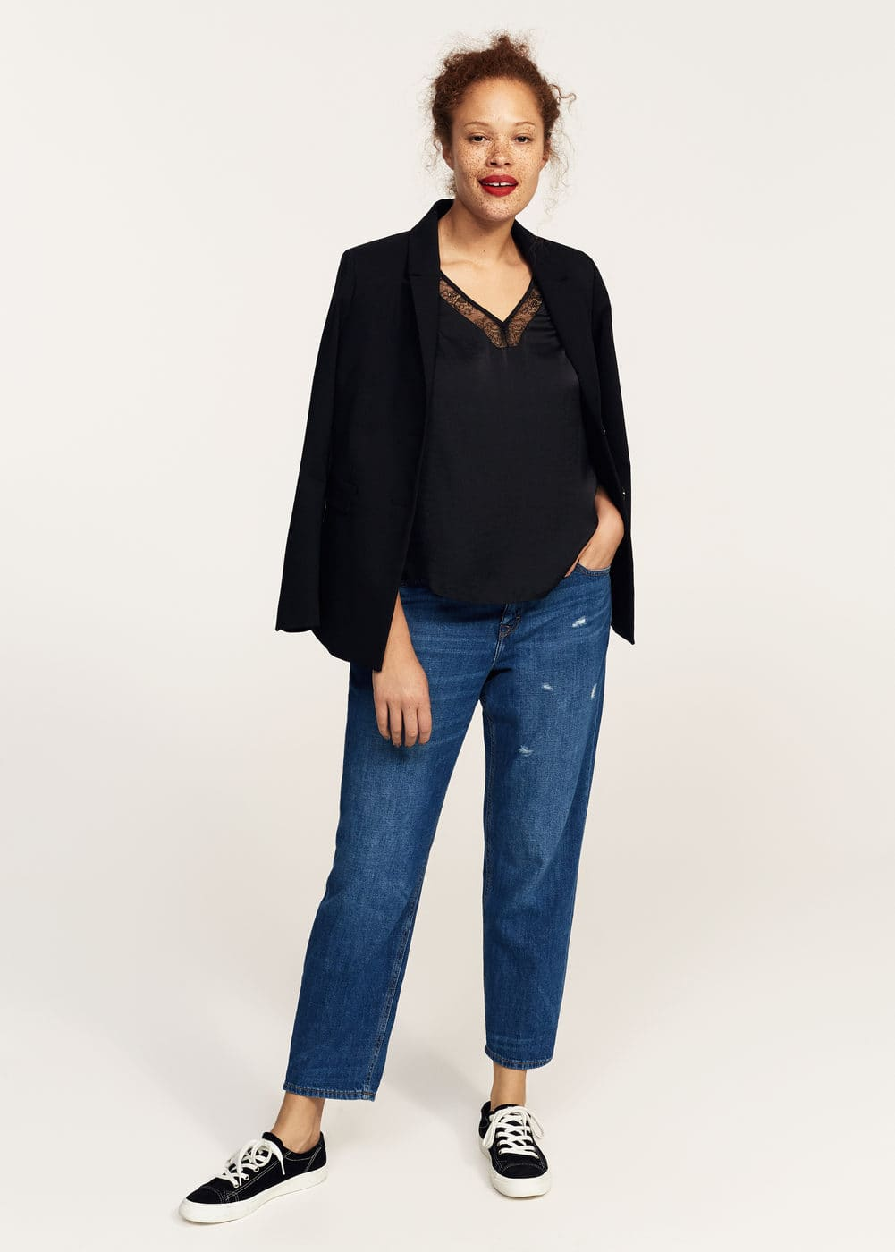 Lace panel blouse | VIOLETA BY MANGO