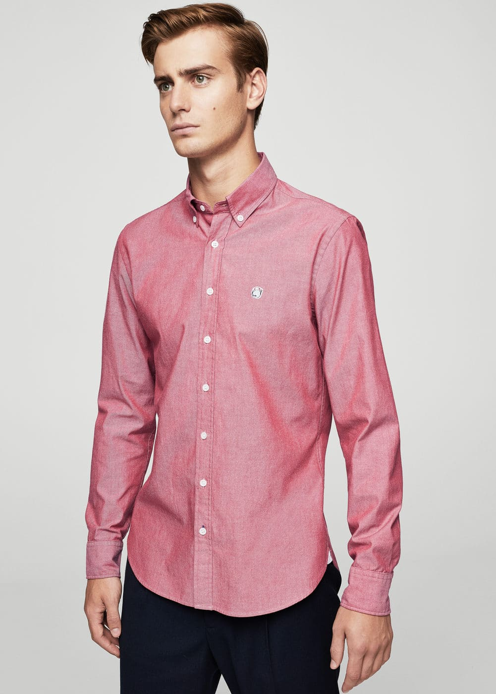 Slim-fit stretch cotton shirt | MANGO MAN
