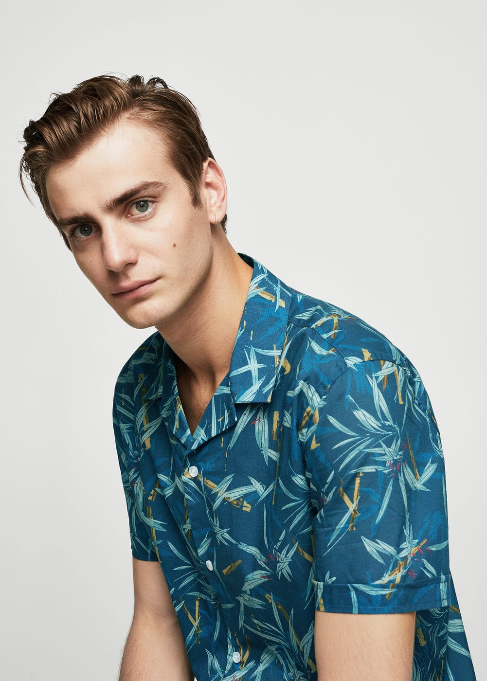 Camisa regular-fit estampat fulles | MANGO MAN