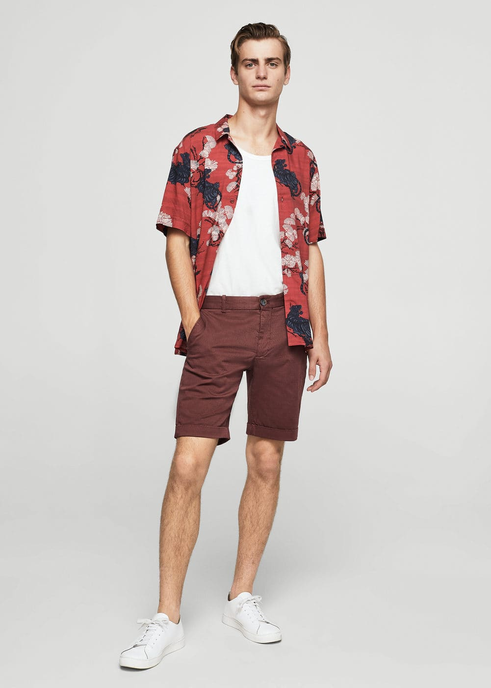 Structured cotton bermuda shorts | MANGO MAN