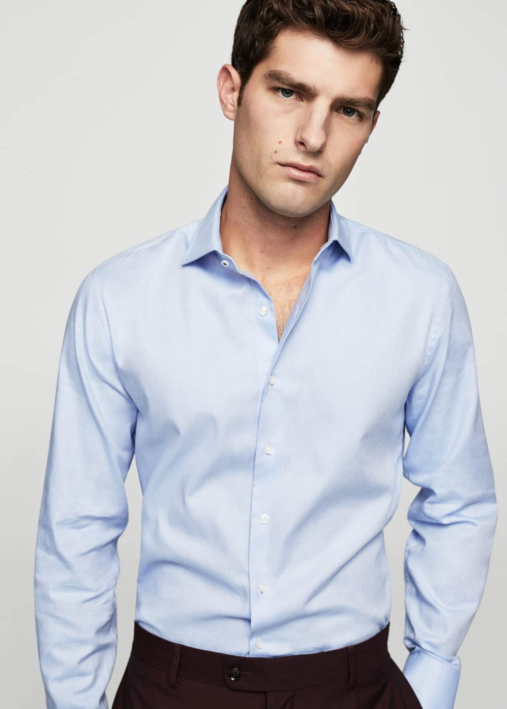 Slim-fit tailored cotton shirt | MANGO MAN
