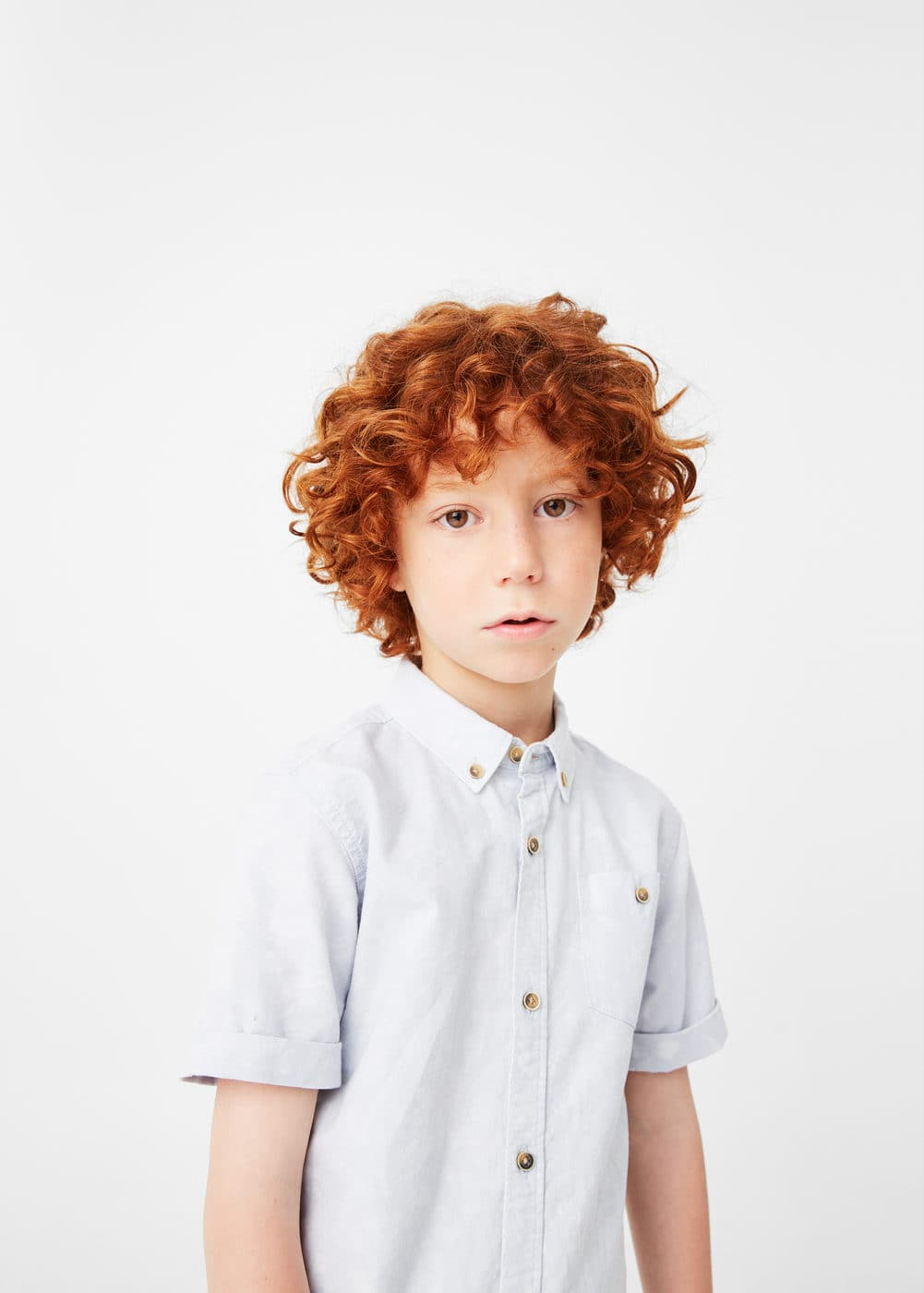 Chest-pocket cotton shirt | MANGO KIDS