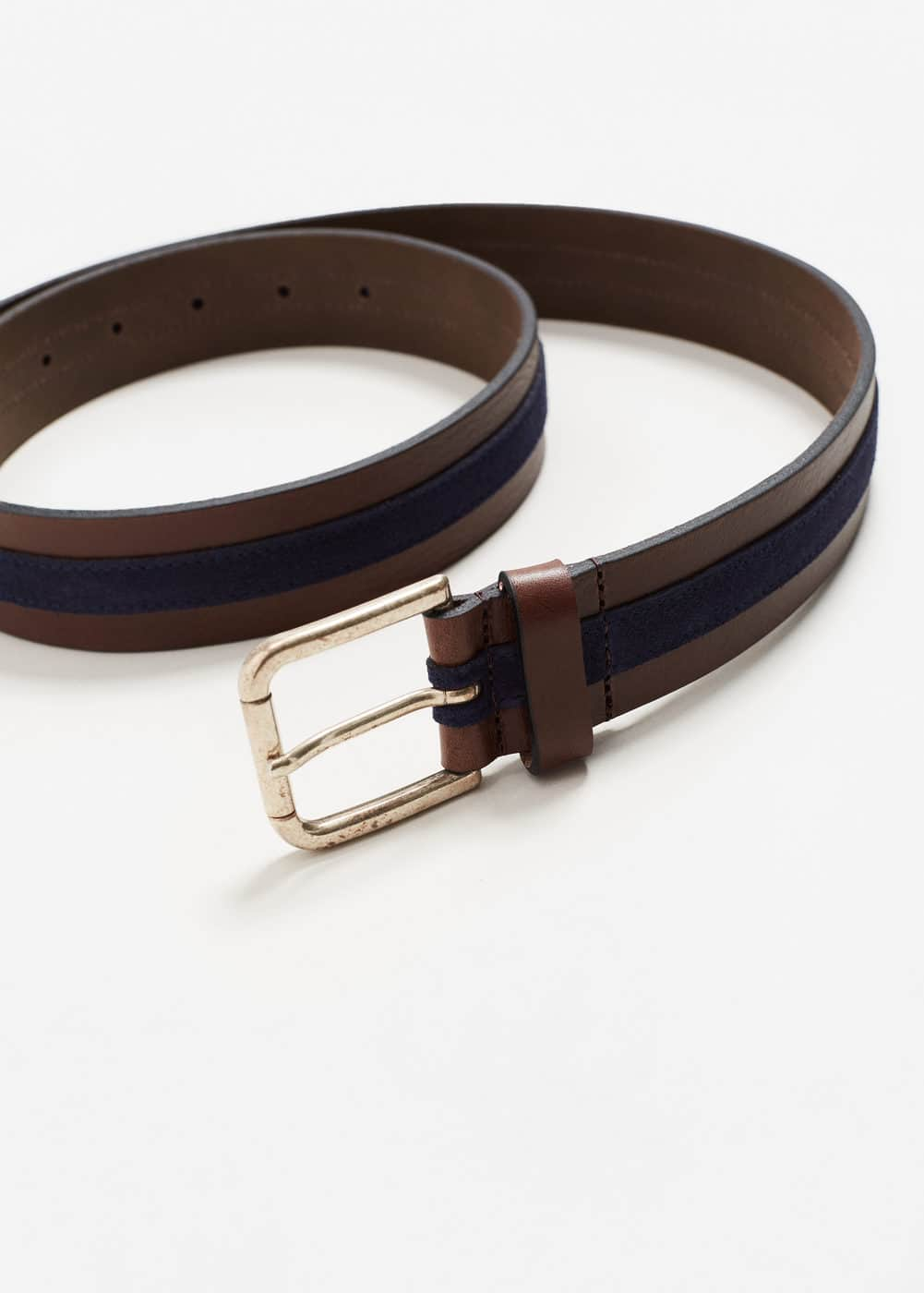 Leather mixed belt | MANGO MAN