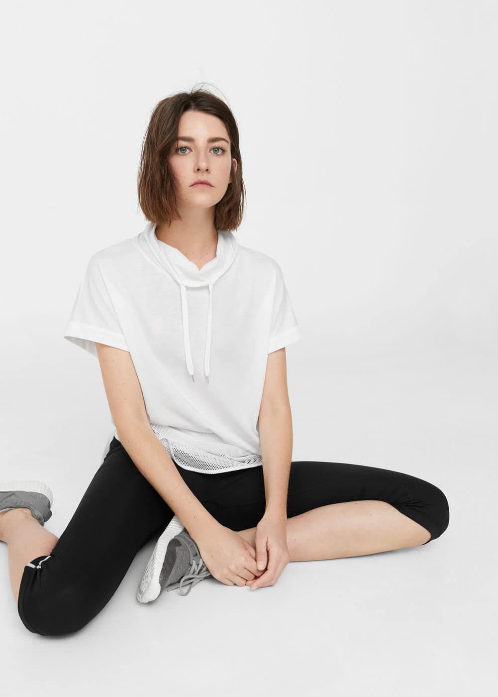 Mao collar cotton t-shirt | MANGO