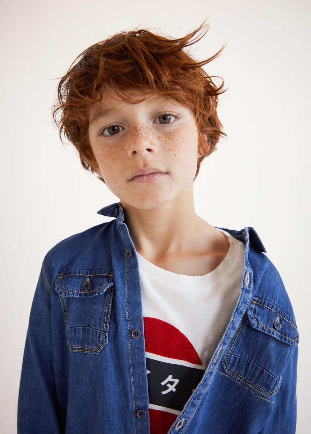 Chest-pocket denim shirt | MANGO KIDS