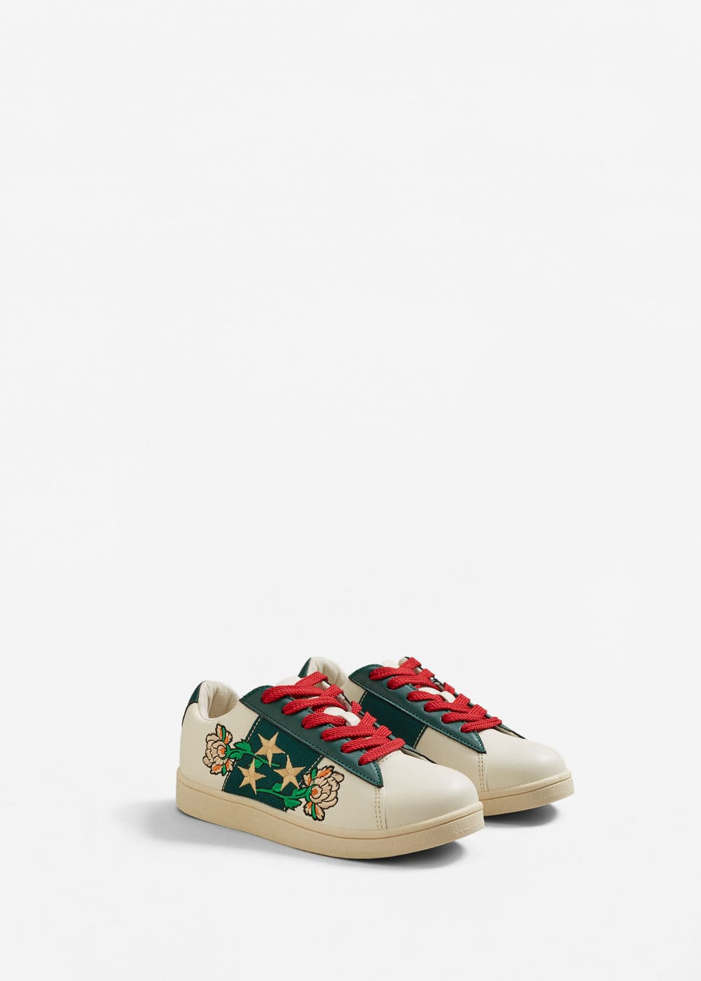Embroidered contrast sneakers | MANGO
