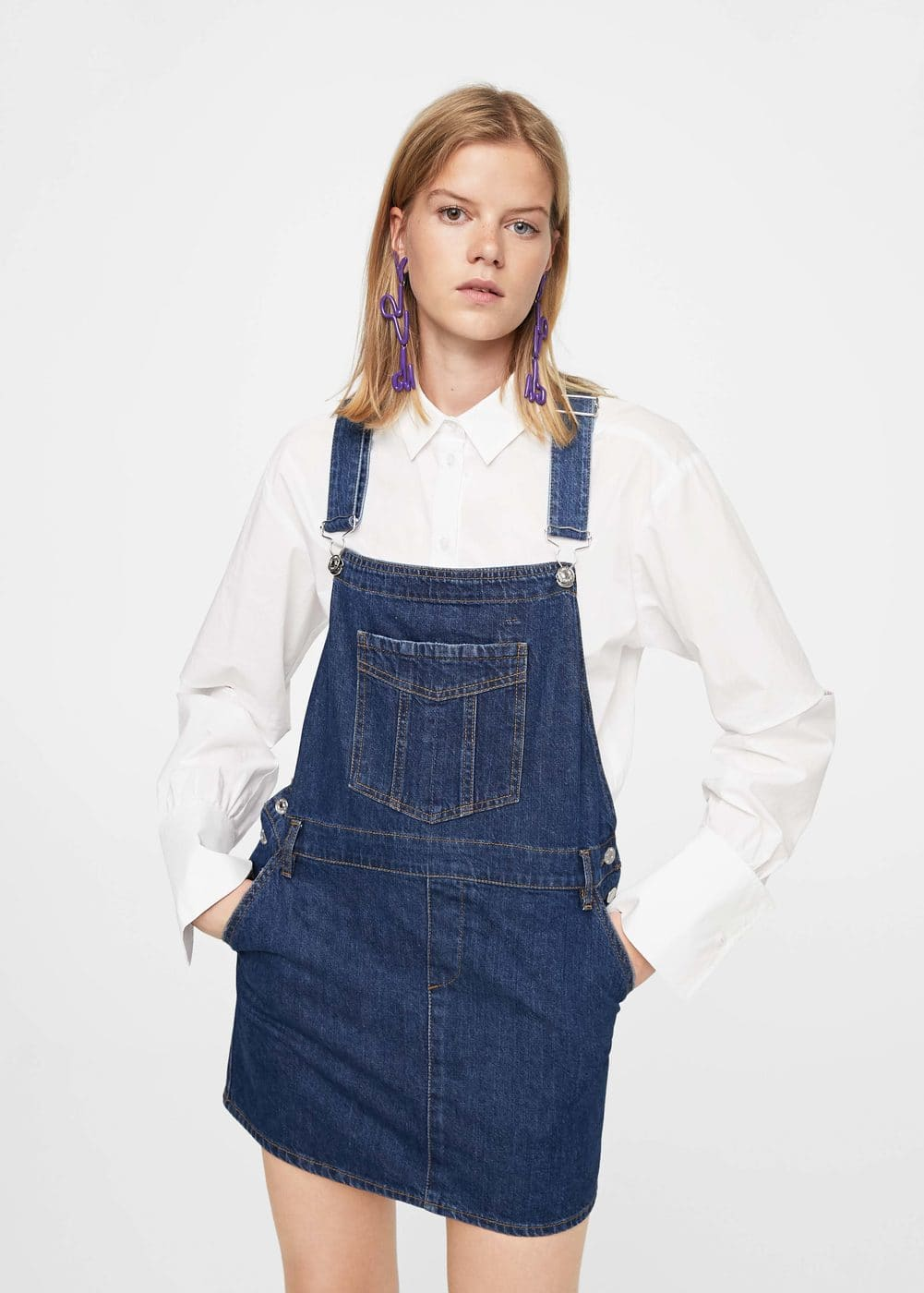 Dark denim pinafore dress | MANGO
