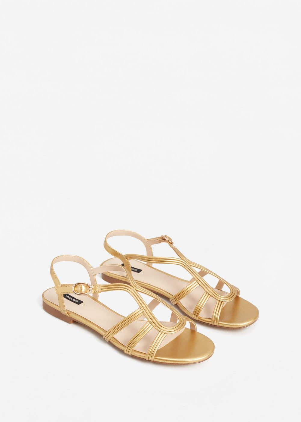 Metallic strap sandals | MANGO