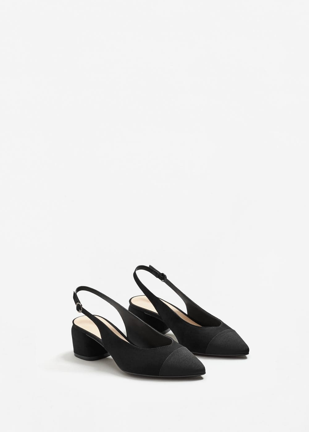 Texture pointed slingback shoes | MNG