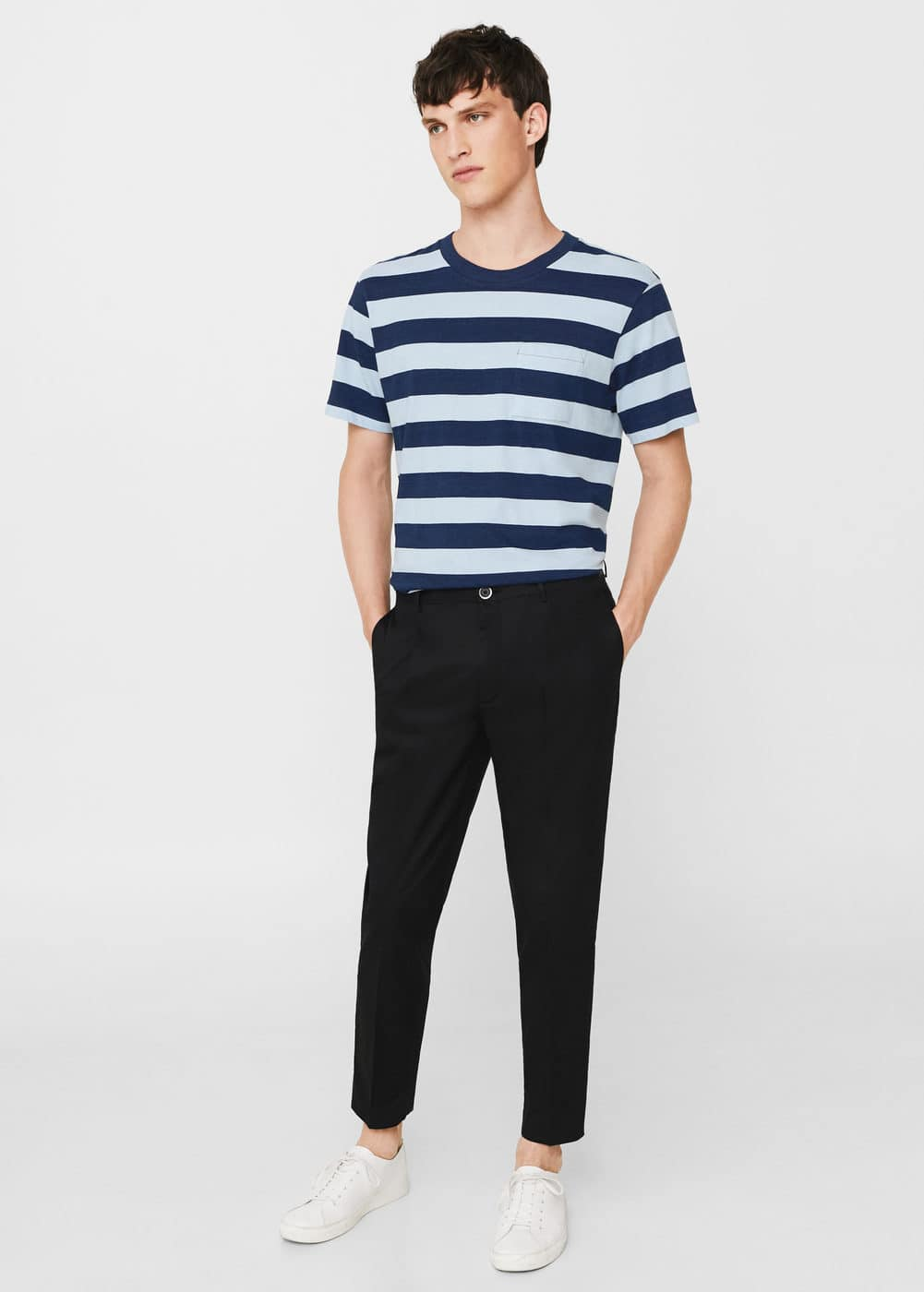 Striped cotton shirt | MANGO MAN