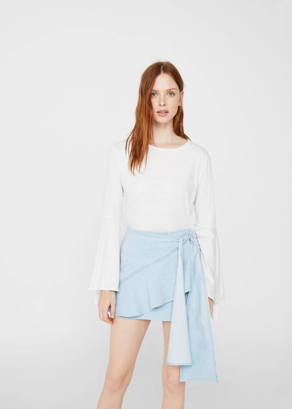 Ruffle denim skirt | MANGO