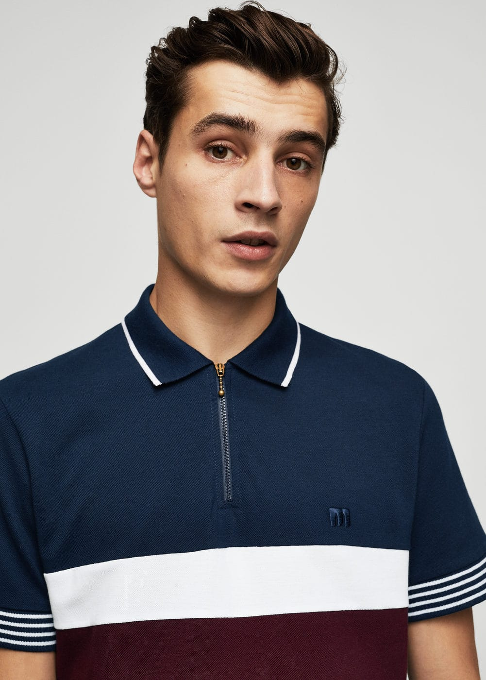 Contrast trim cotton polo shirt | MANGO
