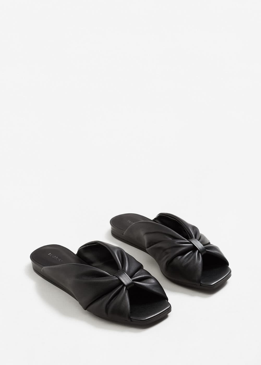 Bow leather sandals | MANGO