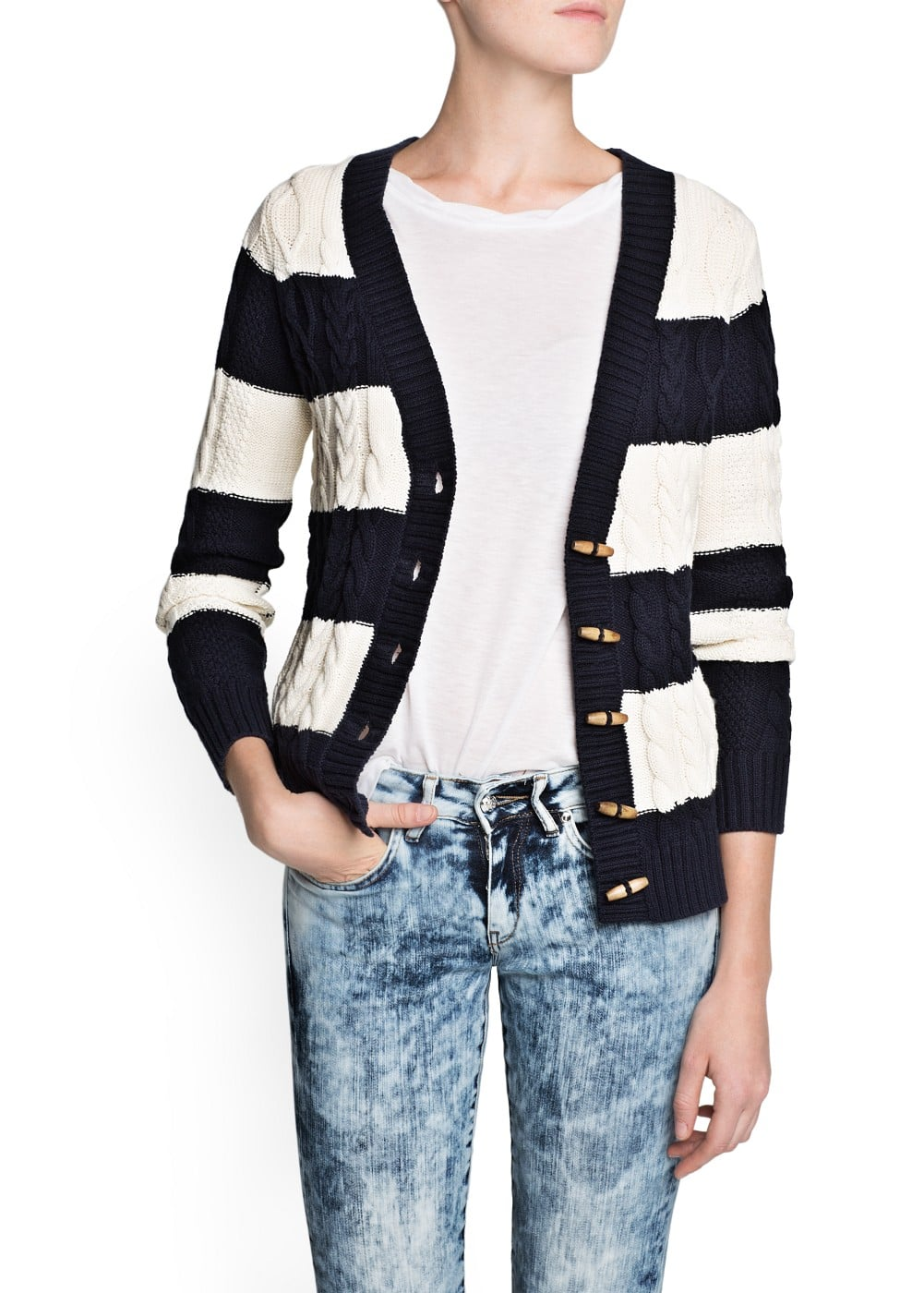 Striped cable-knit cardigan | MANGO
