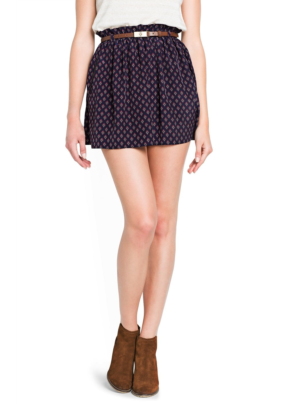 Dapper print flared skirt | MANGO