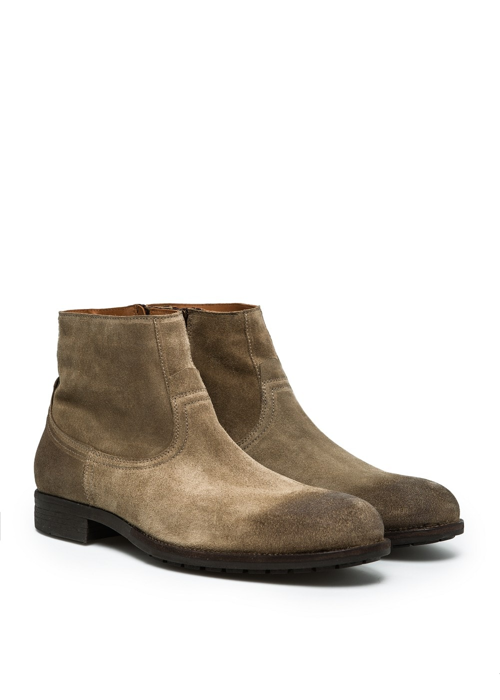 Zipped suede ankle boots | MANGO MAN