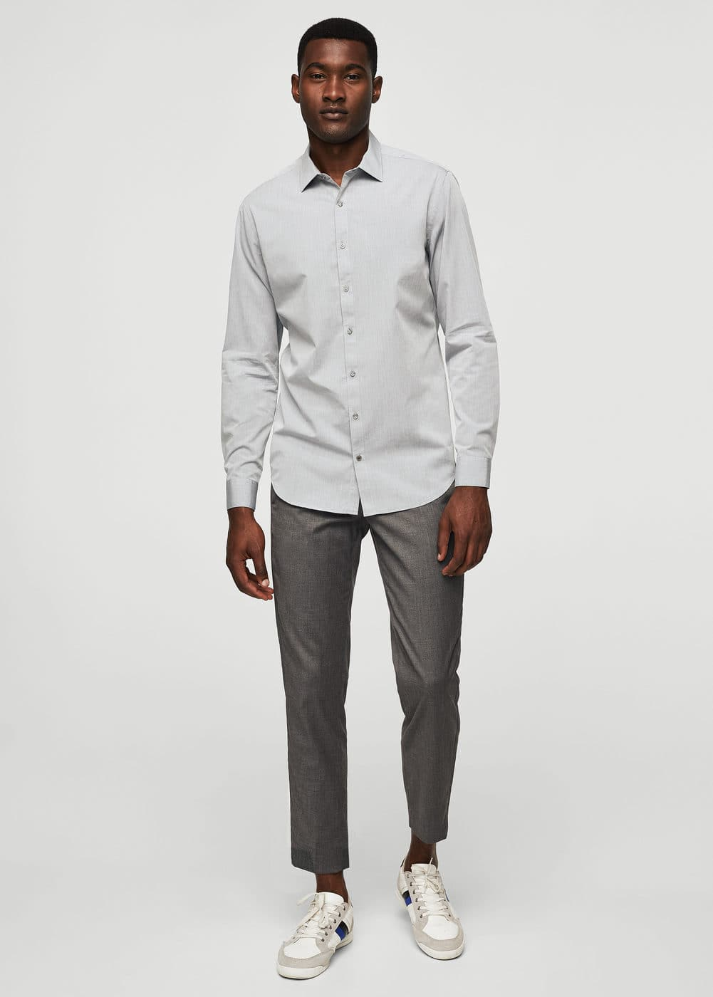Slim-fit textured cotton shirt | MANGO