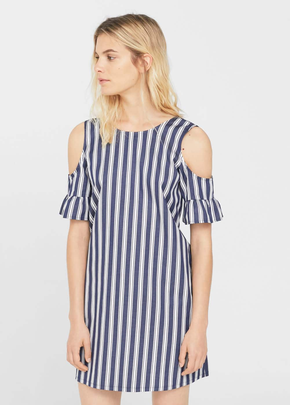 Striped cold-shoulder dress | MANGO
