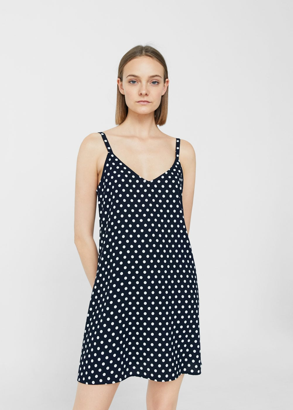 Polka-dot textured dress | MANGO