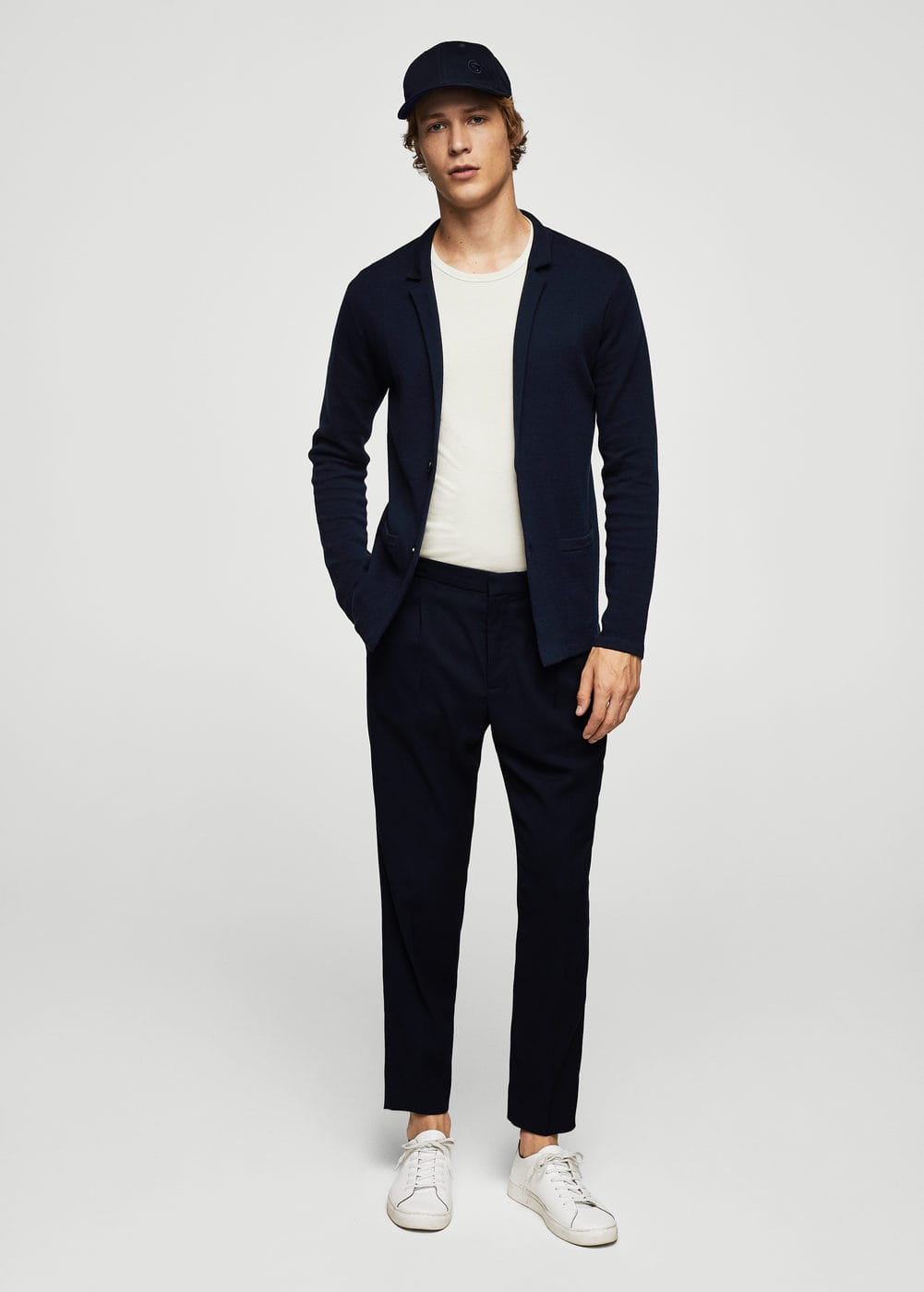Lapel cotton cardigan | MANGO
