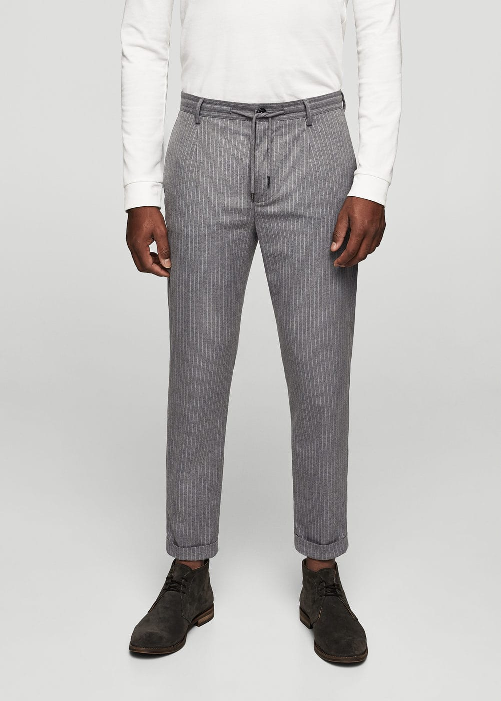 Chalk-stripe jogging chinos | MANGO