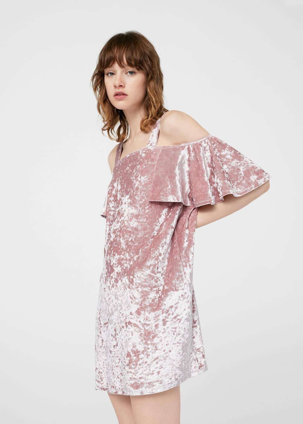 Velvet cold-shoulder dress | MANGO