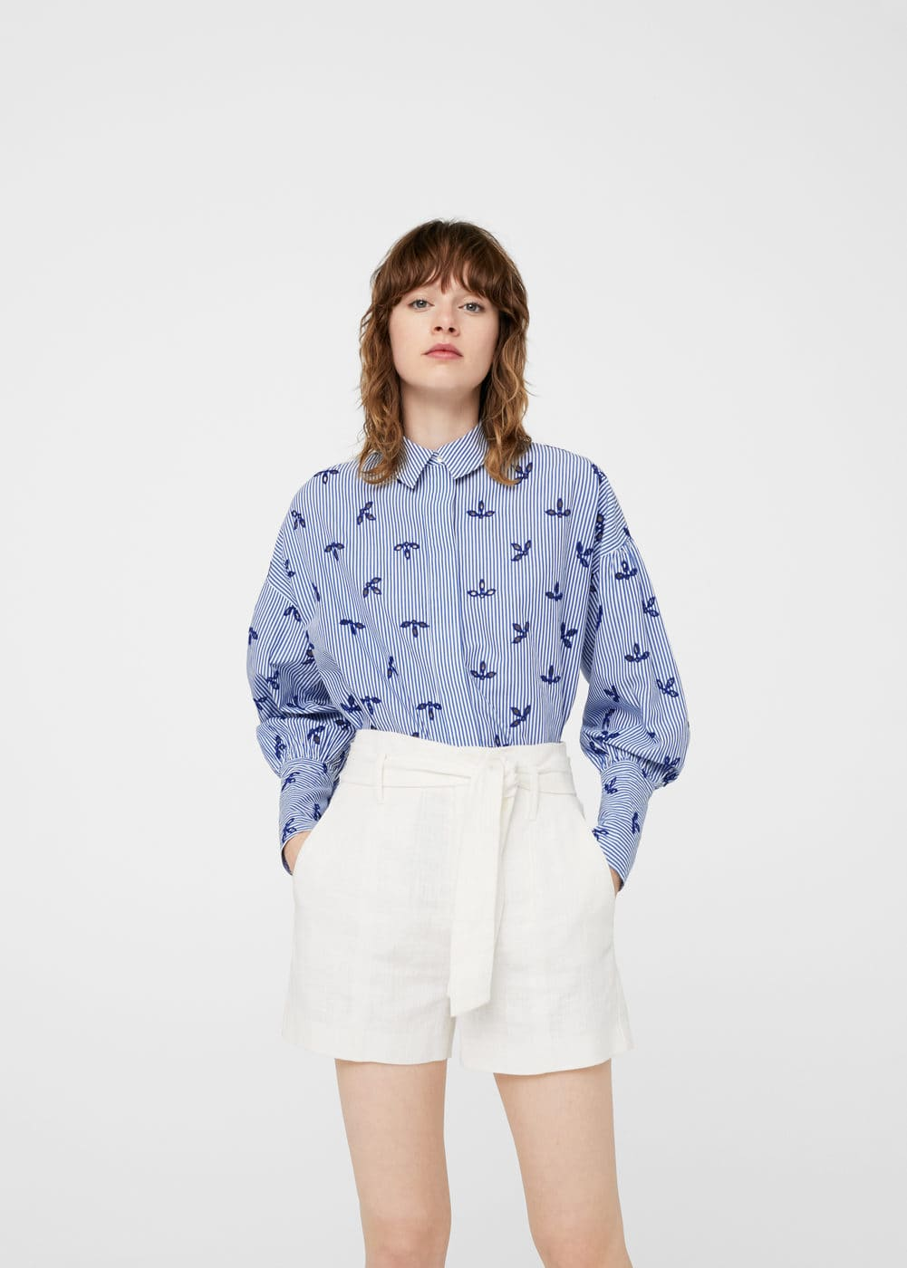 Openwork cotton shirt | MANGO
