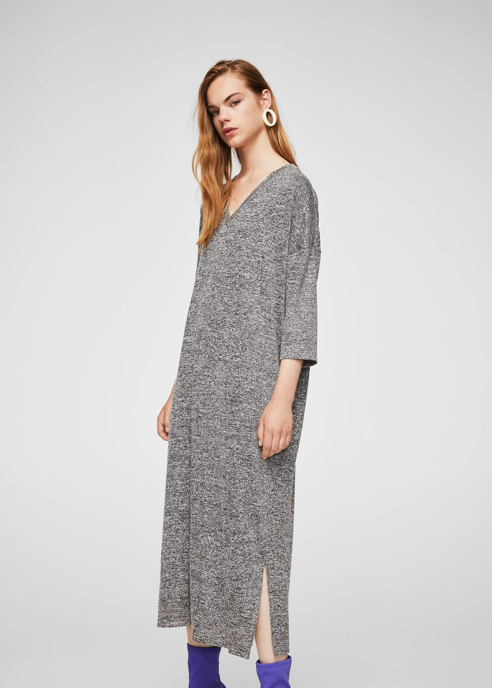 Flecked long dress | MANGO