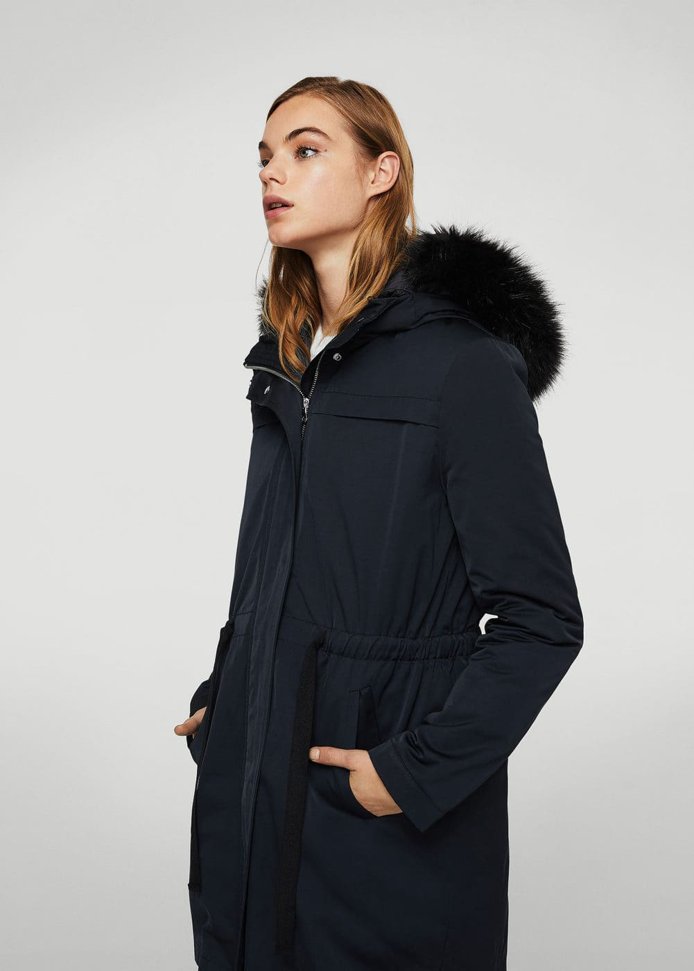 Detachable feather down coat | MANGO