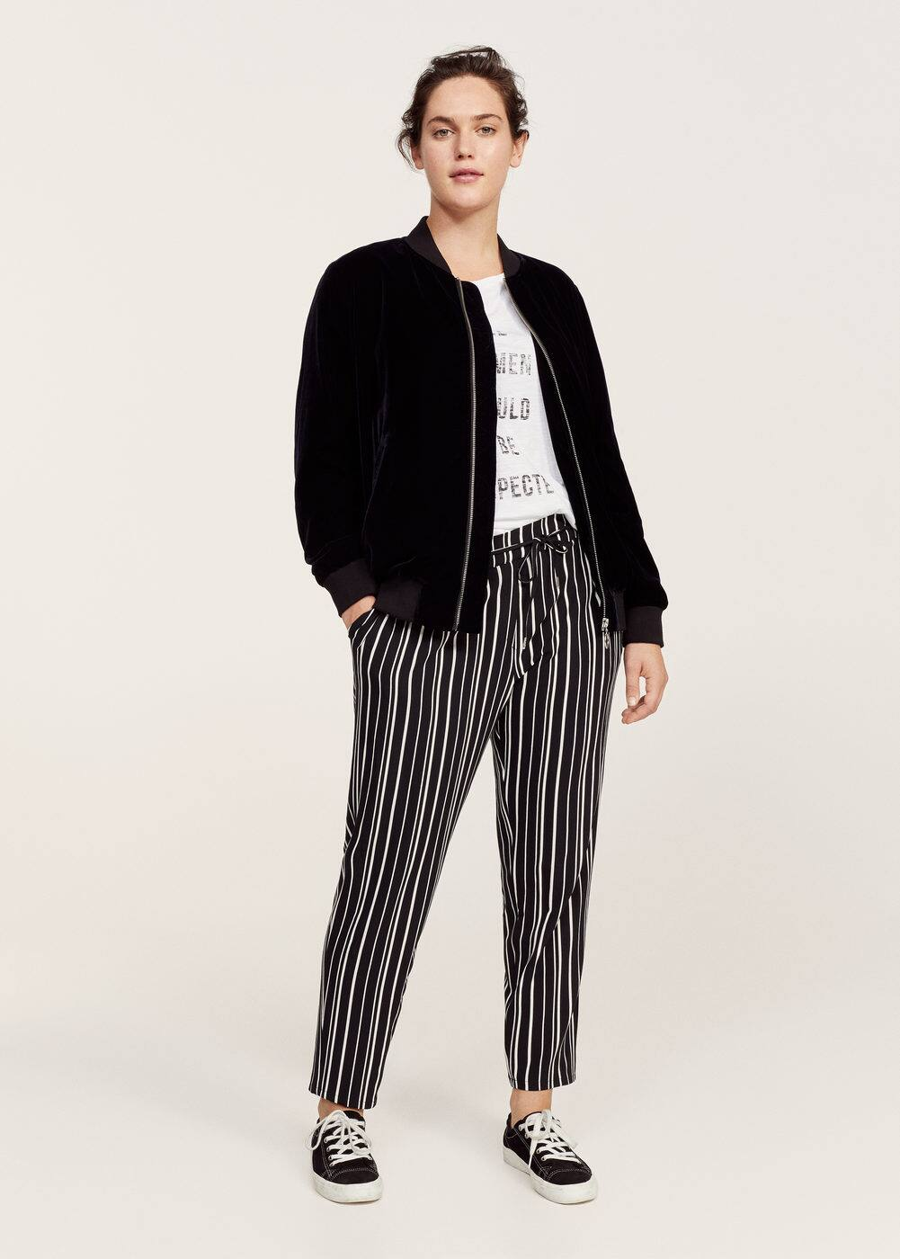 Striped baggy trousers | VIOLETA BY MANGO